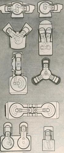 Схемы кривошипных механизмов